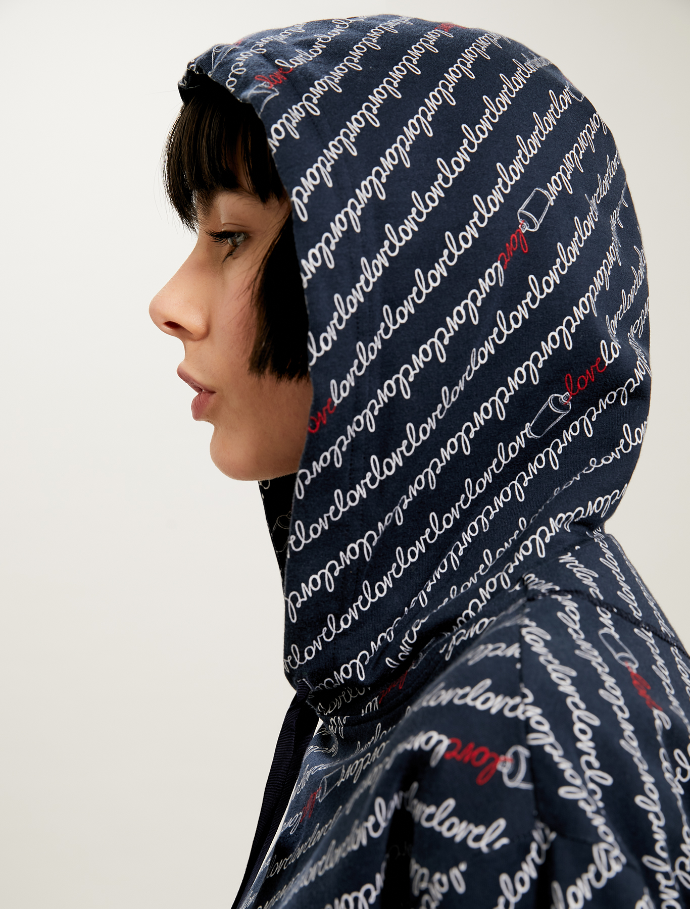 Hoodie with 'love' inscription - navy blue pattern - pennyblack