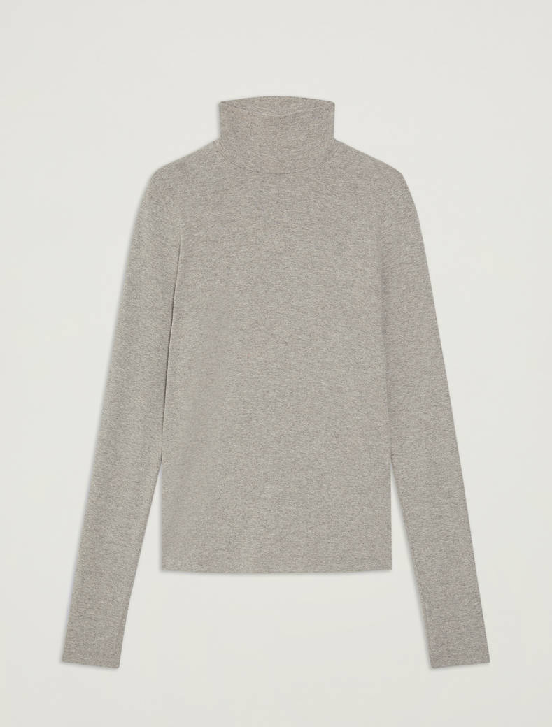 Turtleneck cotton T-shirt - light grey - pennyblack