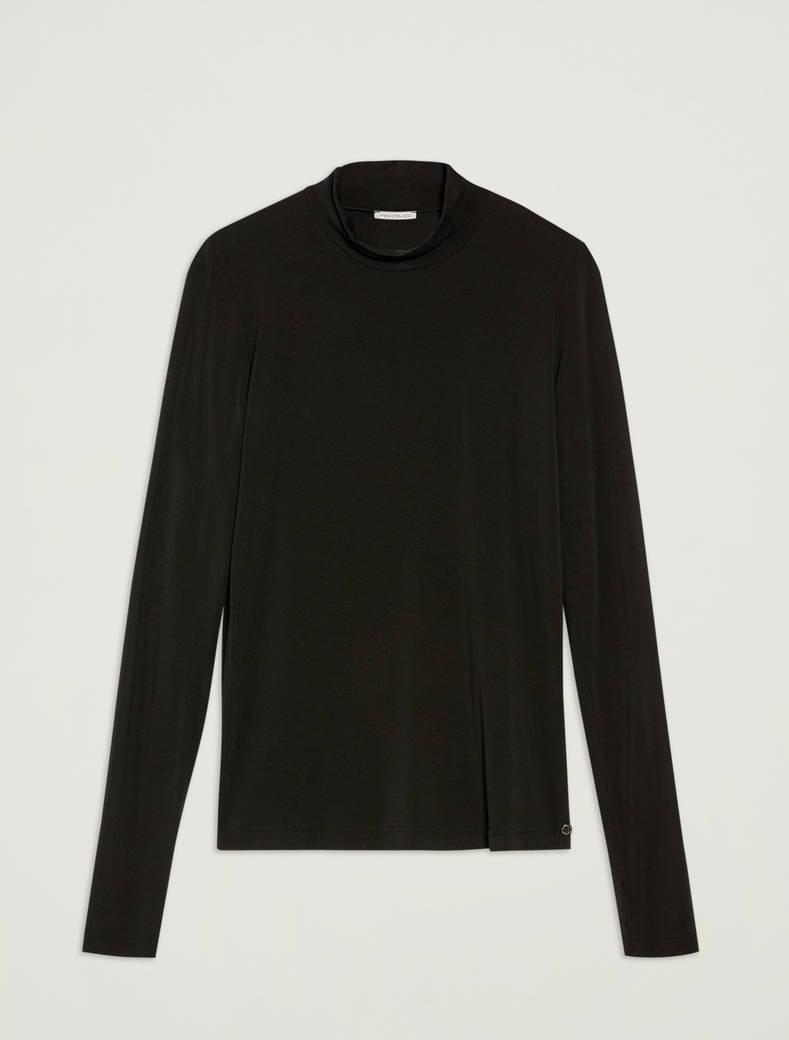 Turtleneck cotton T-shirt - black - pennyblack