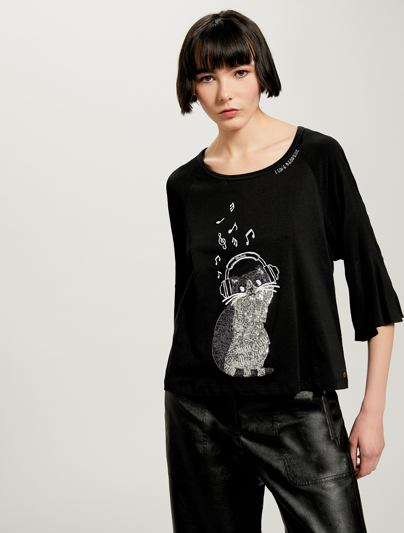 T-shirt with cat in sequins - black - pennyblack