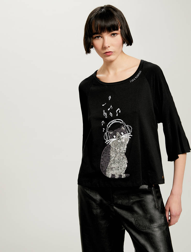 T-shirt con gatto in paillettes - nero - pennyblack