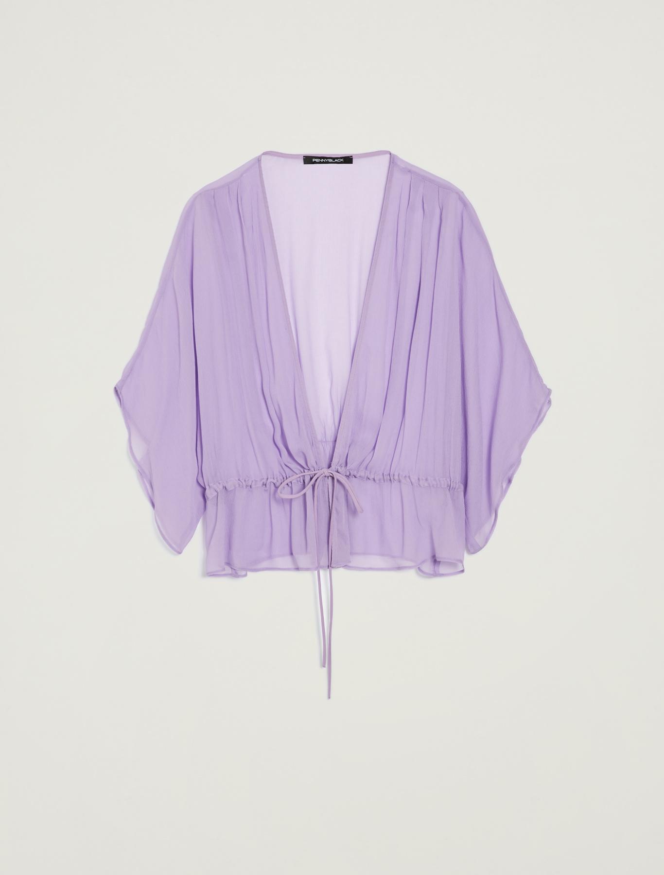 Kimono shrug with drawstring - lilac - pennyblack