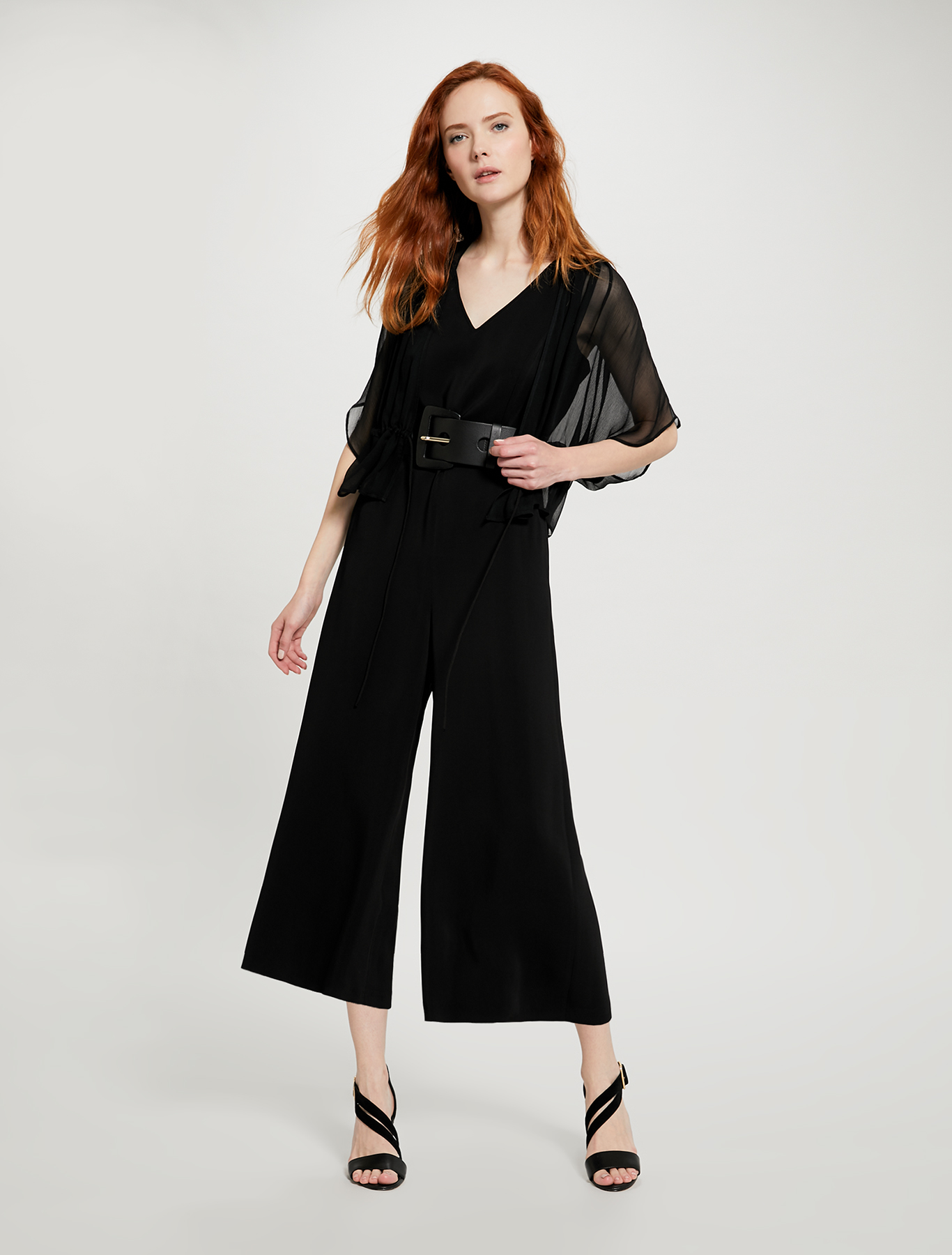 Kimono shrug with drawstring - black - pennyblack