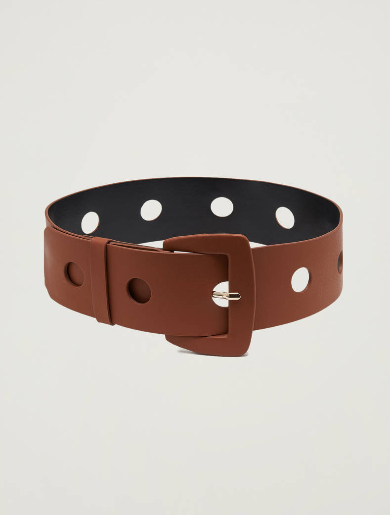 Waist belt with circular inlays - tan - pennyblack