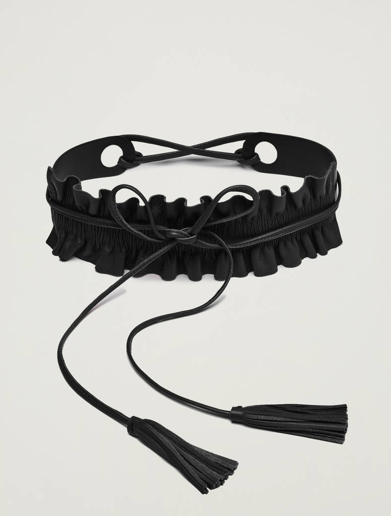 Belt with detachable ruffle - black - pennyblack