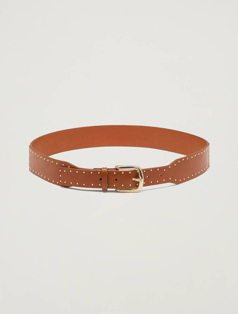 Belt with micro studs - tan - pennyblack
