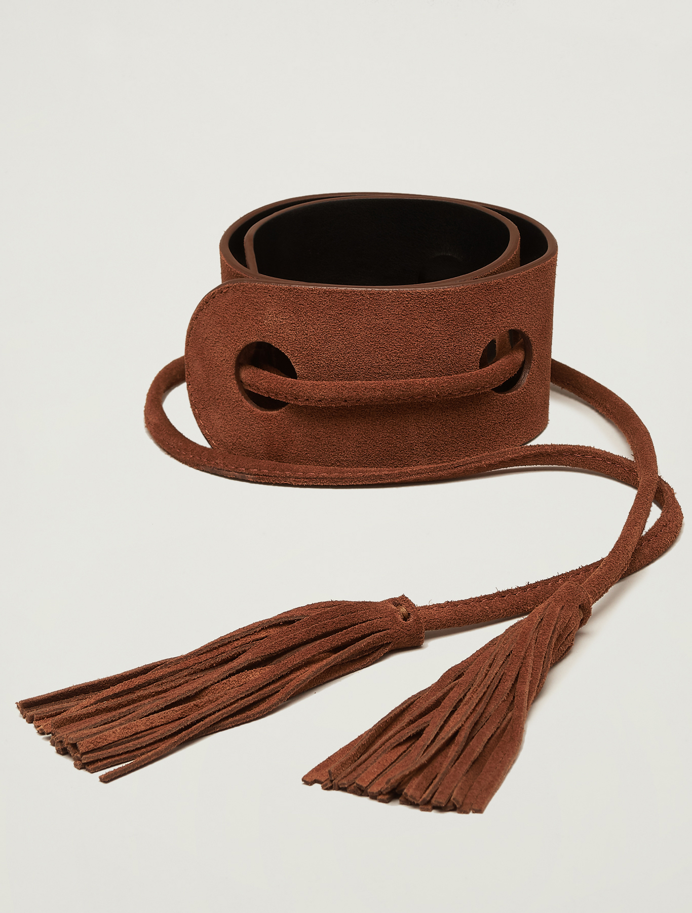 Belt with inlays and tassels - tan - pennyblack