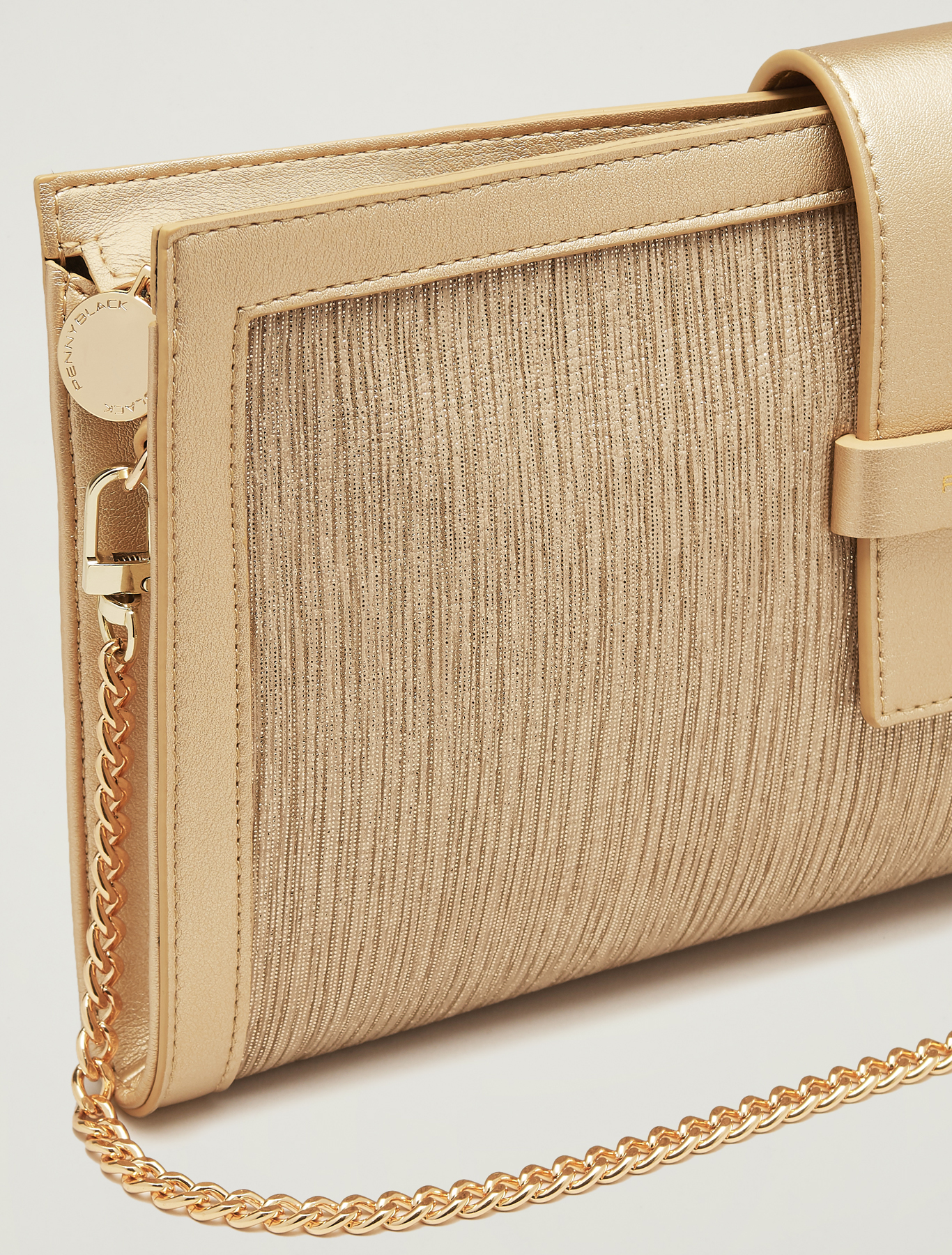 Lamé fabric clutch - gold - pennyblack
