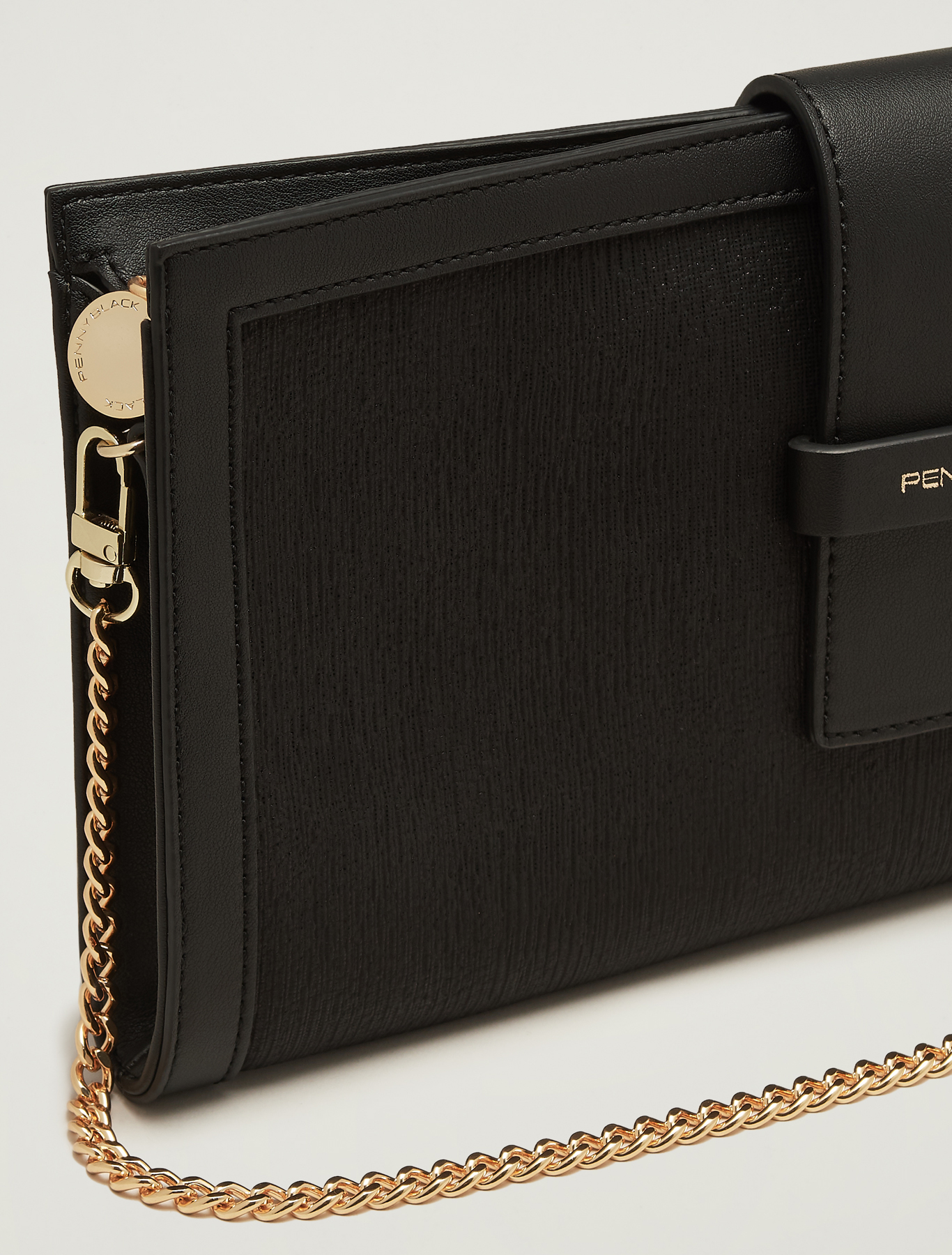Lamé fabric clutch - black - pennyblack