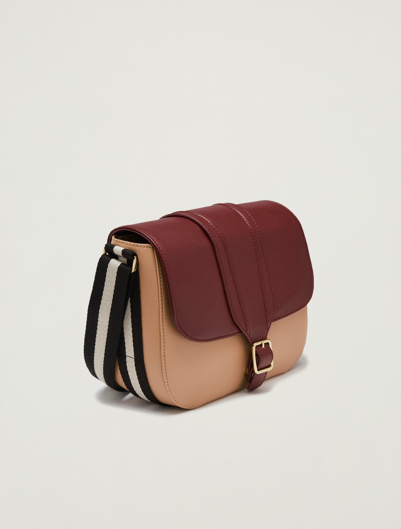 Messenger bag with striped ribbon - burgundy - pennyblack