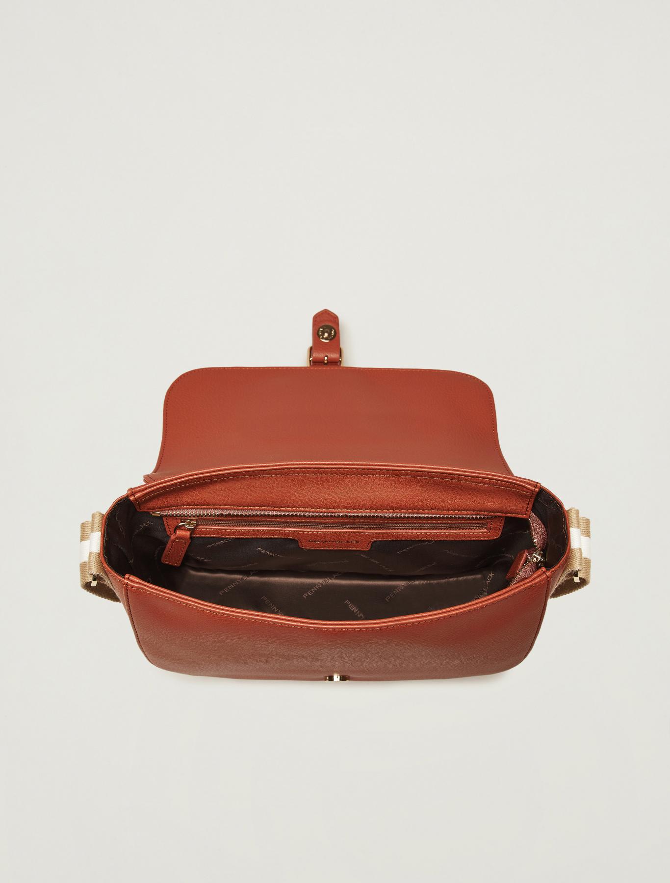 Messenger bag with striped ribbon - tan - pennyblack