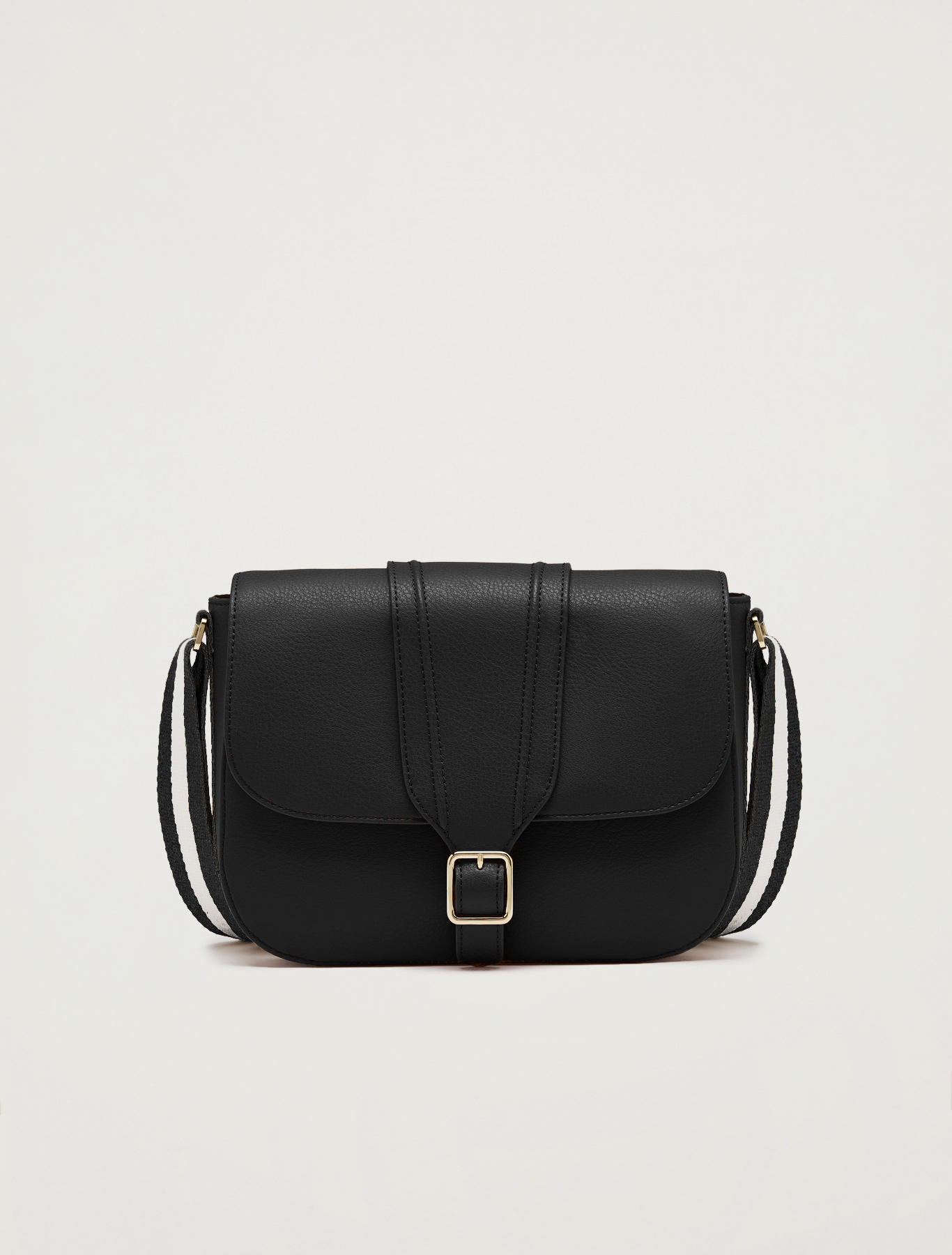 Messenger bag with striped ribbon - black - pennyblack