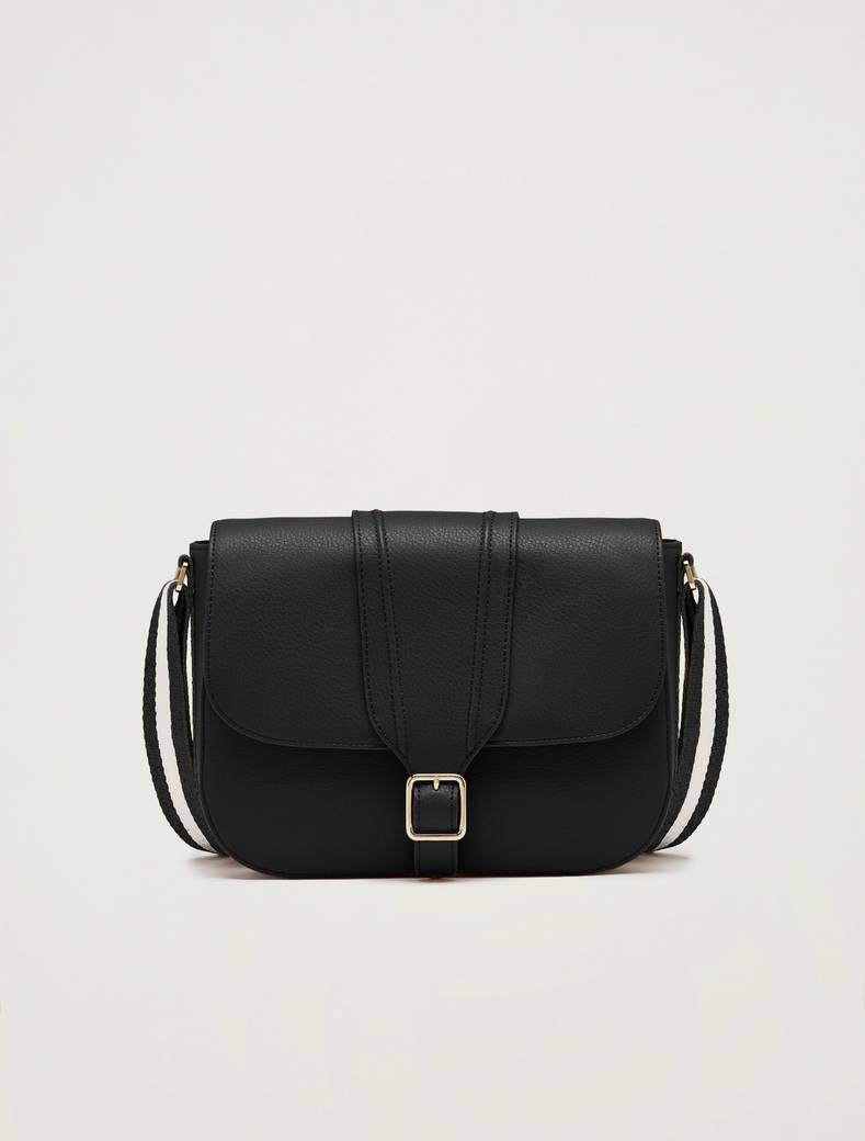Messenger bag con nastro a righe - nero - pennyblack