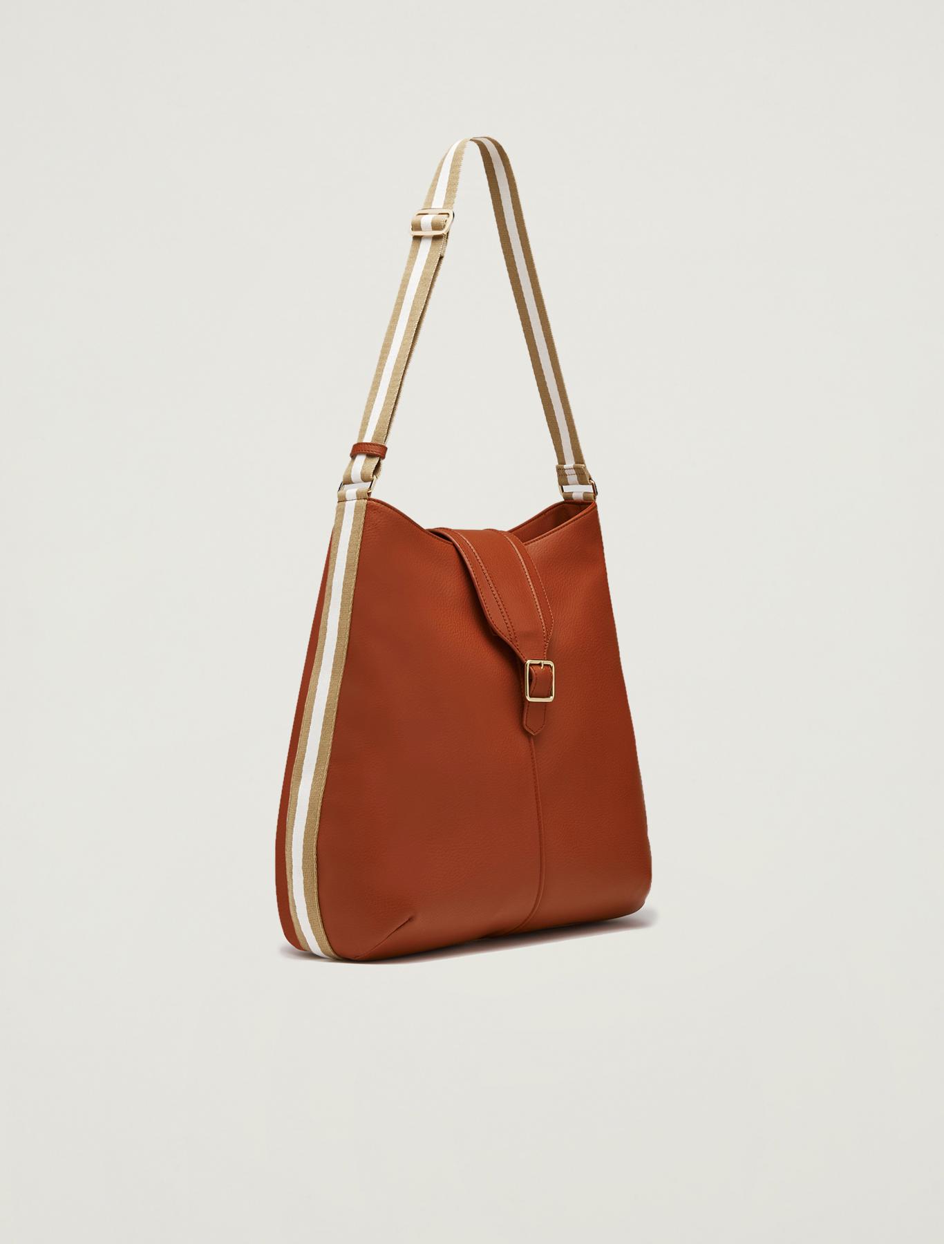 Hobo bag with striped ribbon - tan - pennyblack