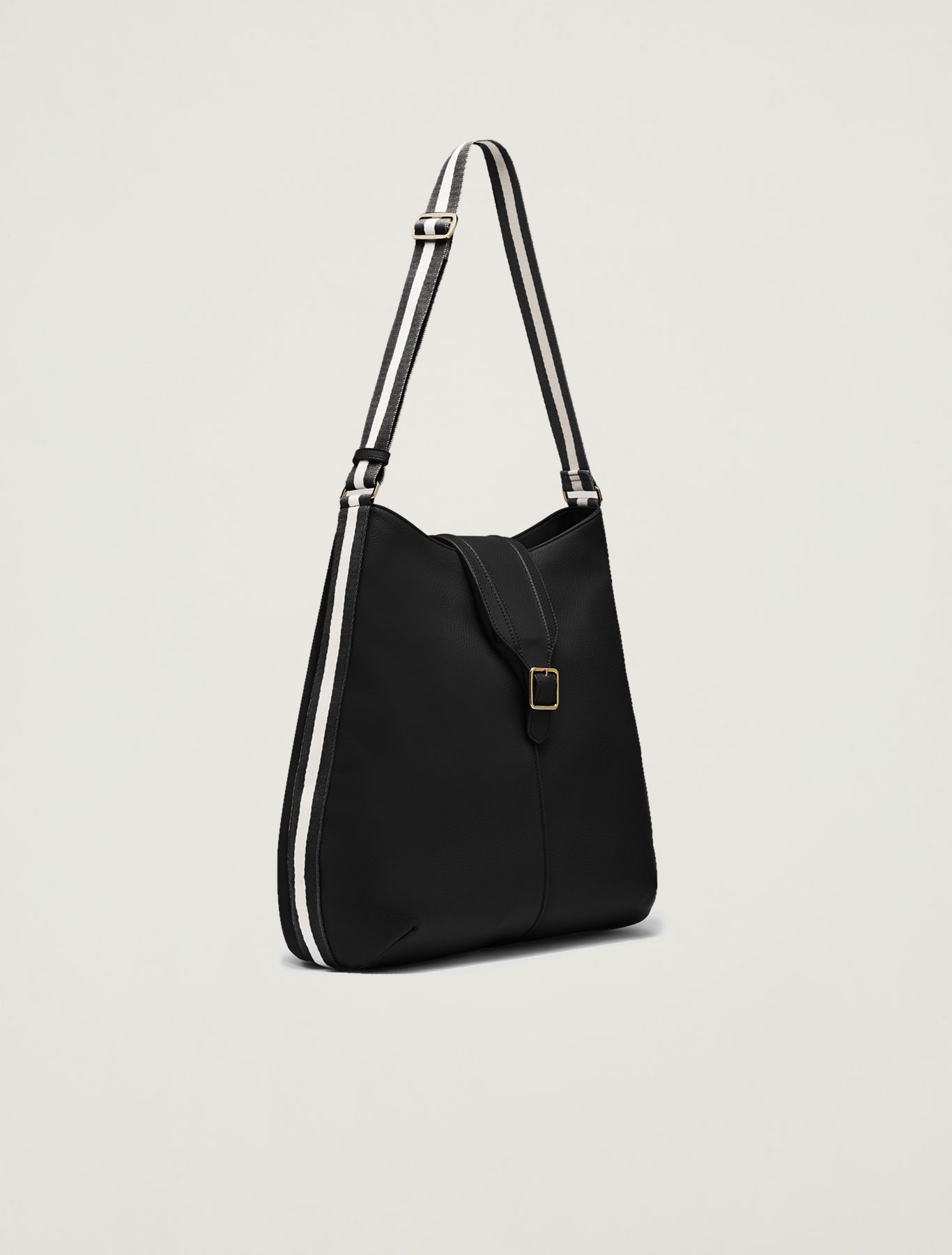 Hobo bag with striped ribbon - black - pennyblack