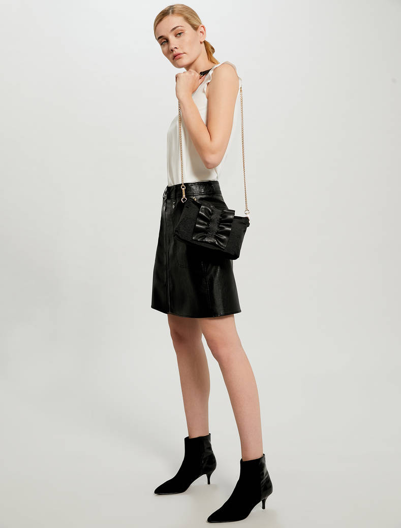 Grosgrain mini bag with ruffle - black - pennyblack