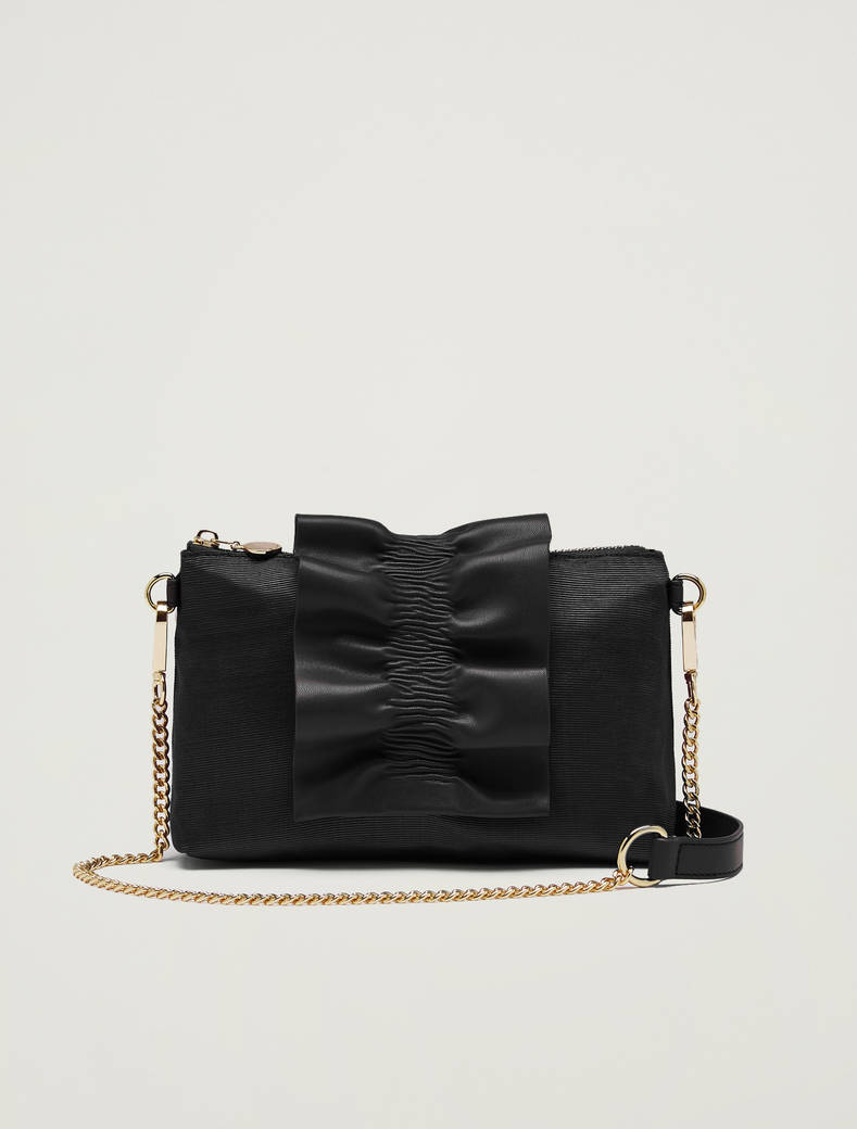 Mini-bag in gros-grain con ruche - nero - pennyblack