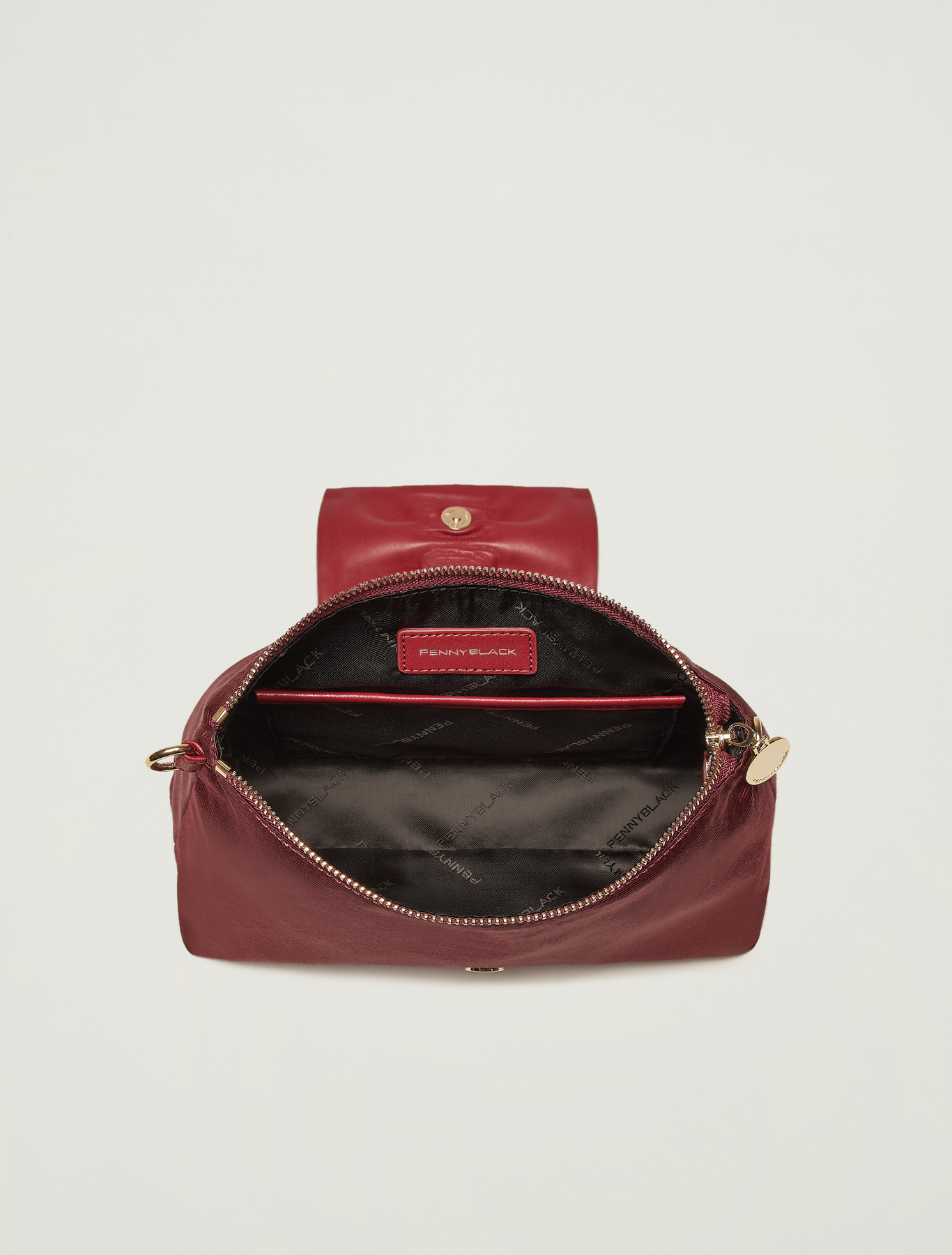 Grosgrain mini bag with ruffle - burgundy - pennyblack