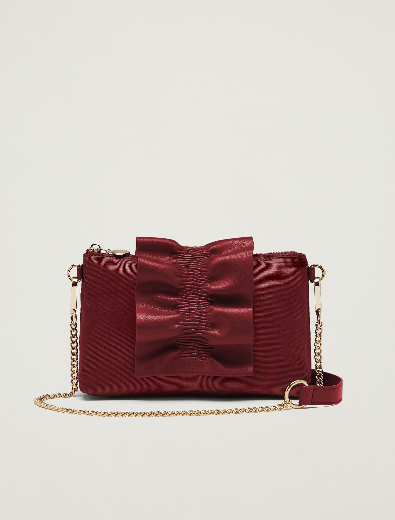 Grosgrain mini bag with ruffle - burgundy - pennyblack