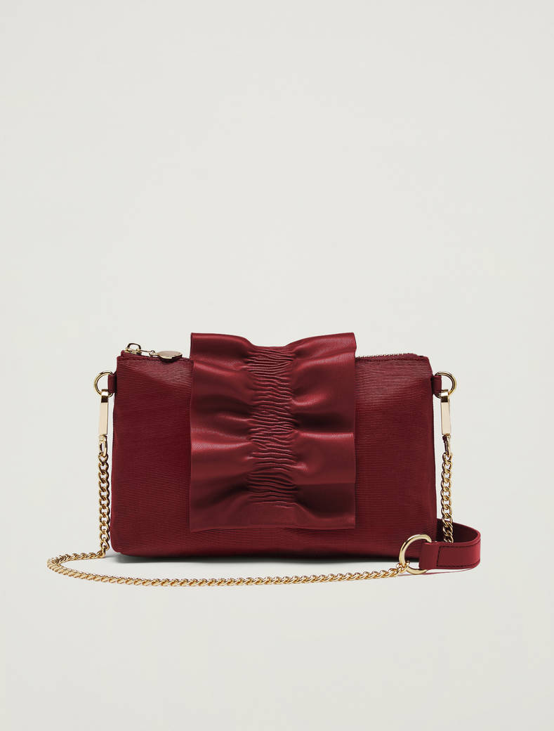 Mini-bag in gros-grain con ruche - bordeaux - pennyblack