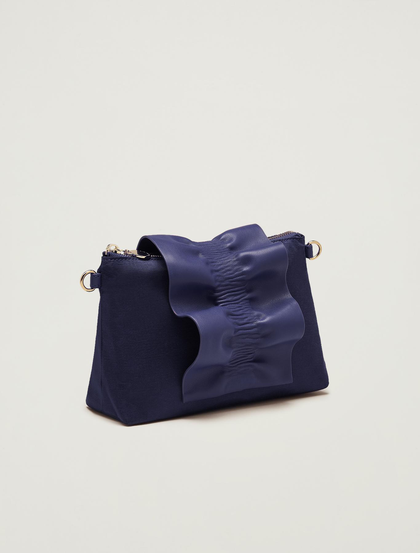 Grosgrain mini bag with ruffle - navy blue - pennyblack