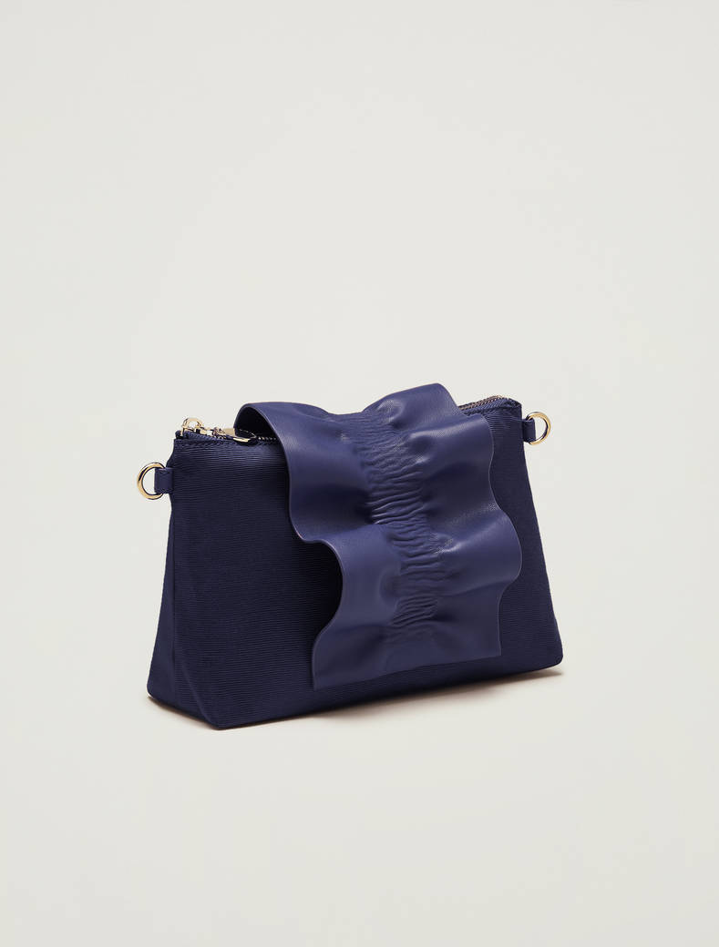 Mini-bag in gros-grain con ruche - blu marino - pennyblack