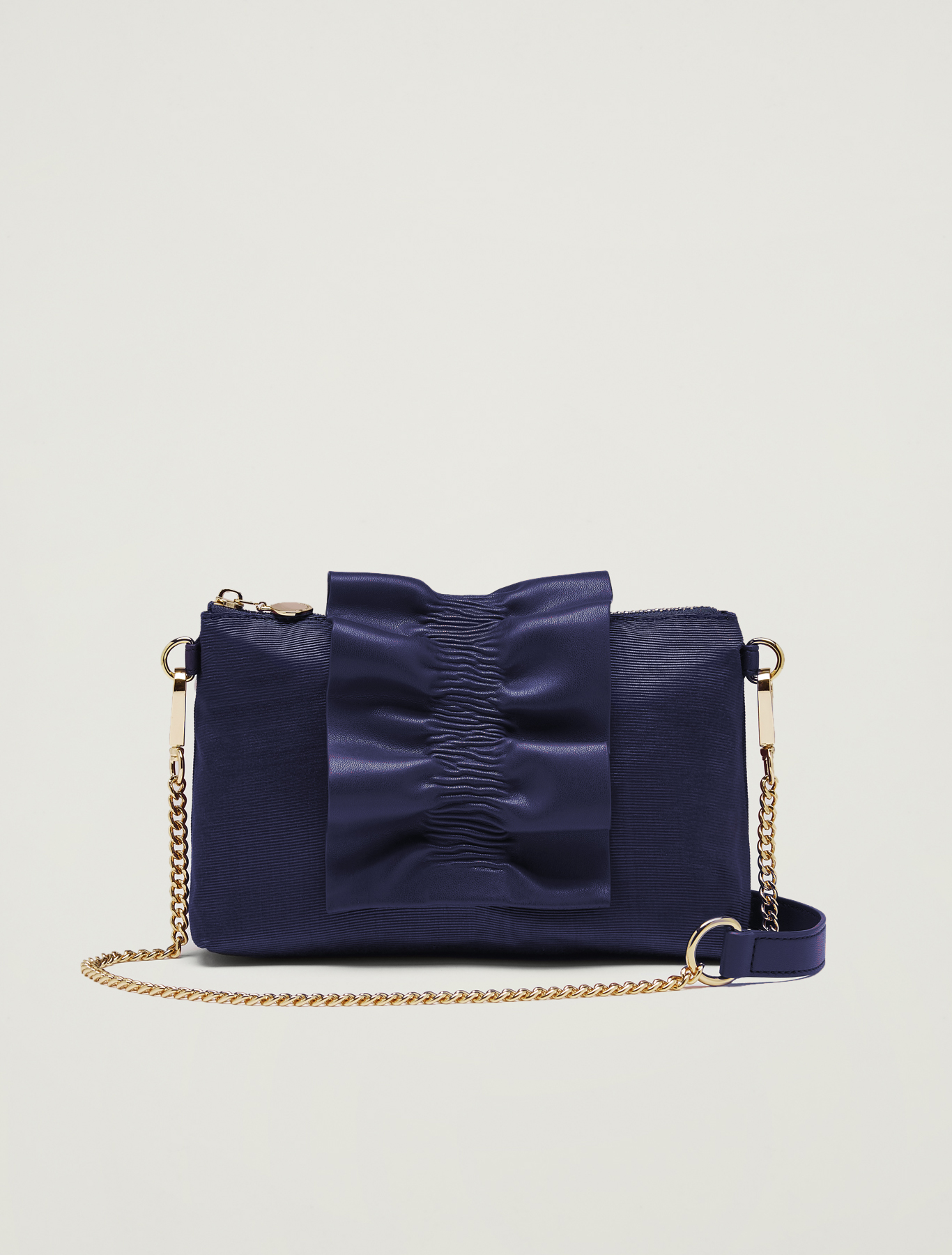 Grosgrain mini bag with ruffle - navy blue - pennyblack