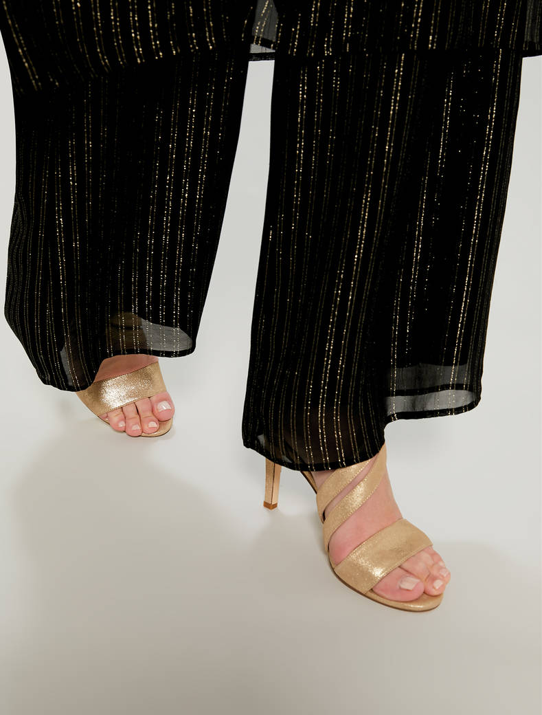 Gold sandals with asymmetric band - gold - pennyblack
