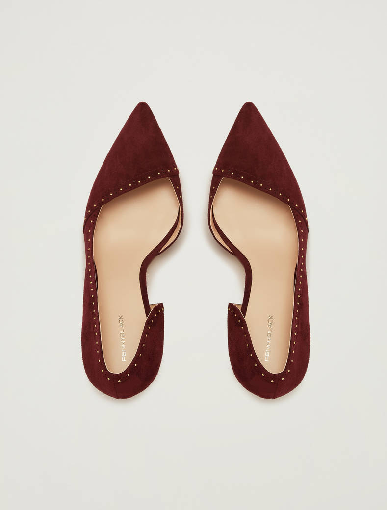 Pumps in suede con micro-borchie - bordeaux - pennyblack