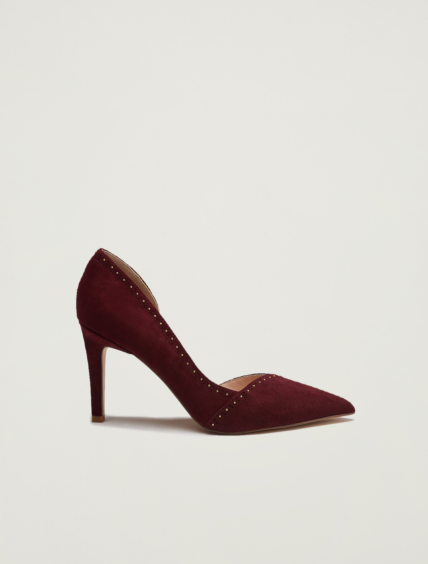 Suede pumps with micro studs - burgundy - pennyblack