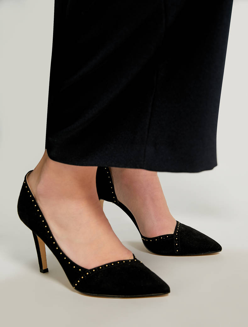 Pumps in suede con micro-borchie - nero - pennyblack