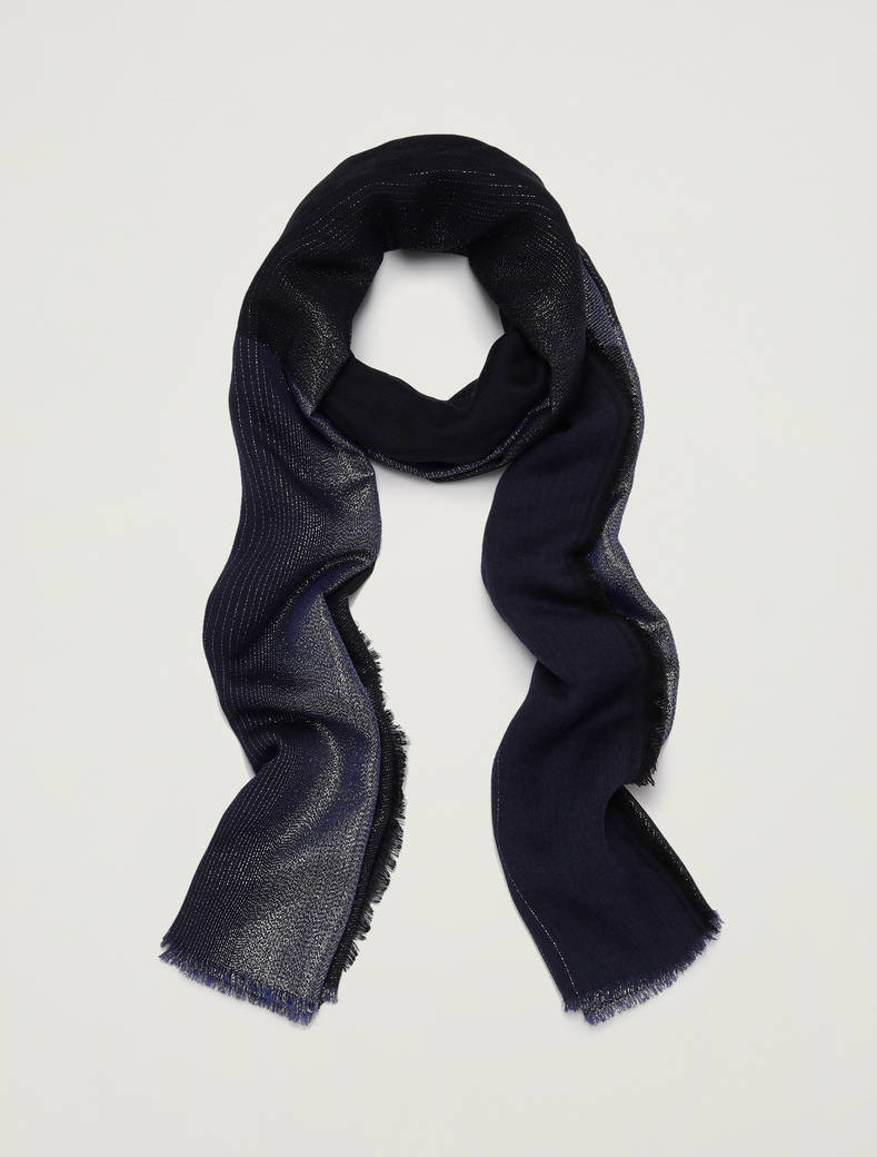Flowing lamé scarf - navy blue - pennyblack