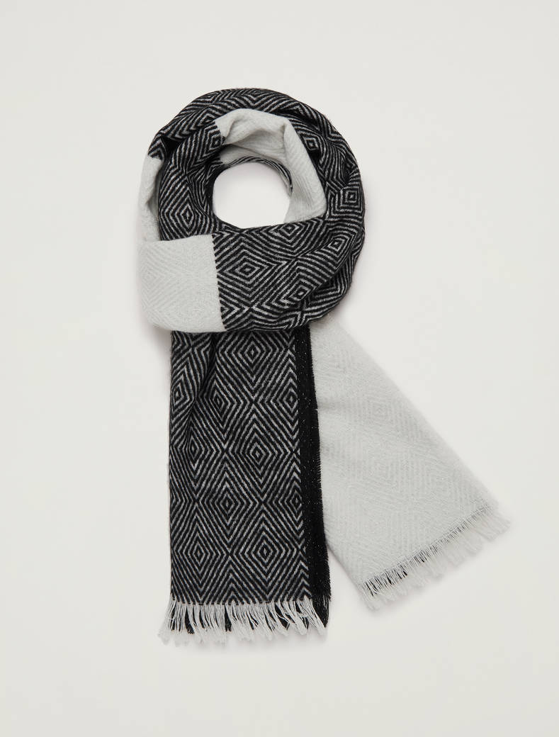 Jacquard scarf with lamé - black - pennyblack