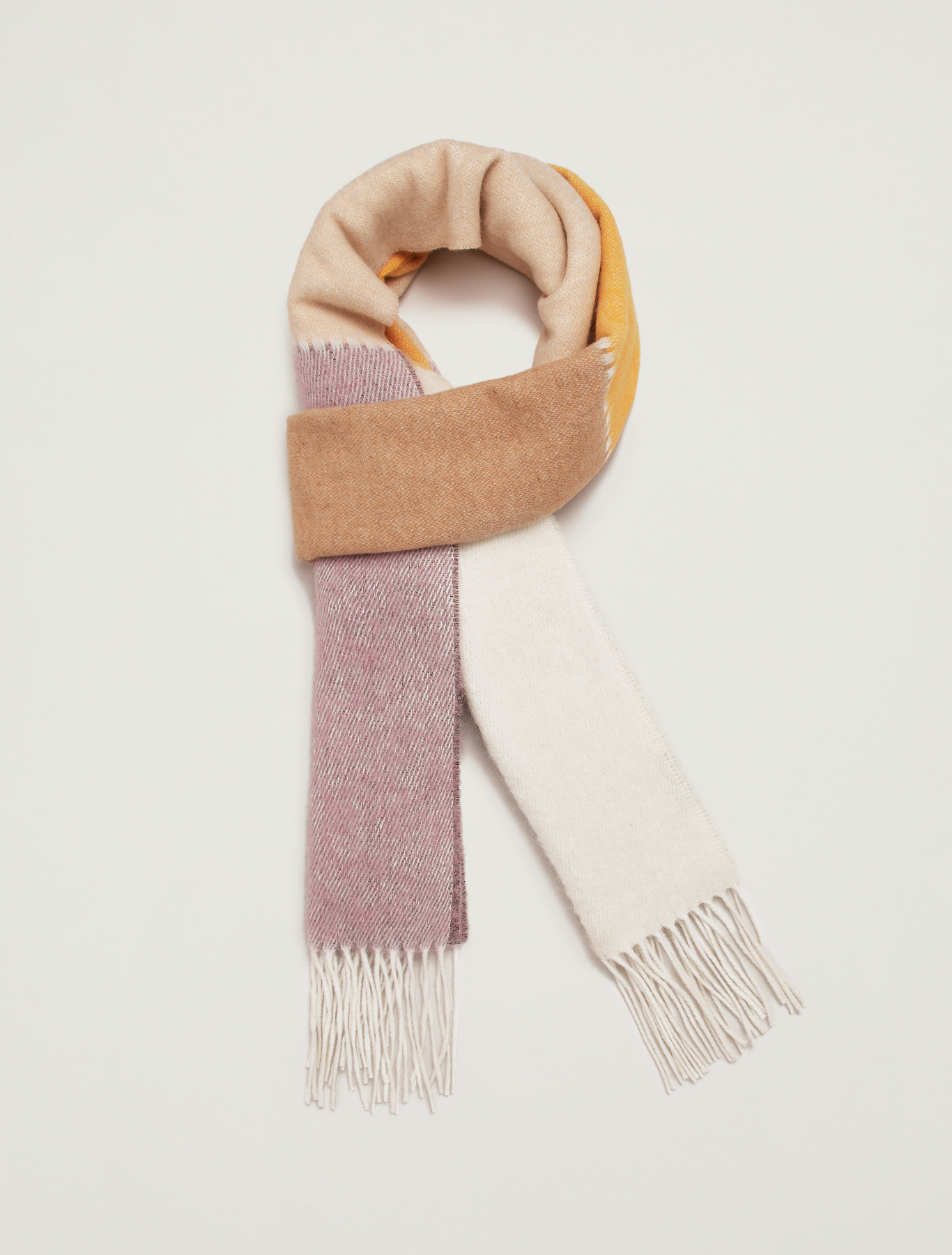 Fringed colour-block scarf - sunshine yellow - pennyblack