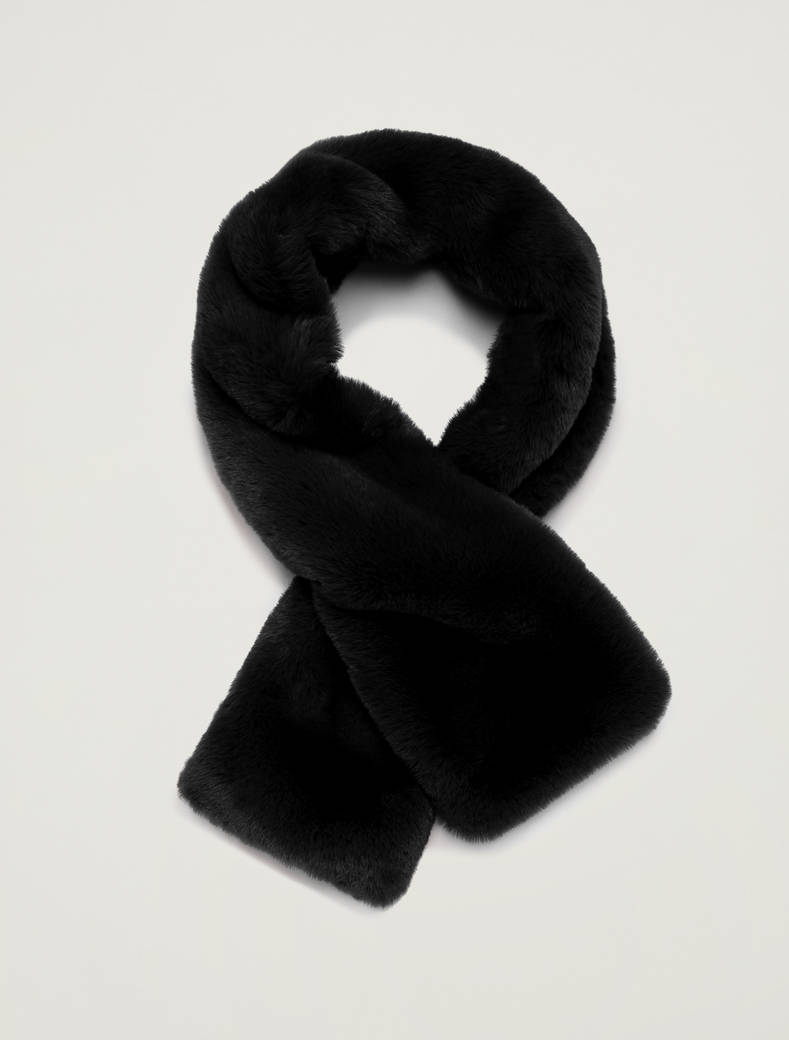 Plush collar with knit - black - pennyblack