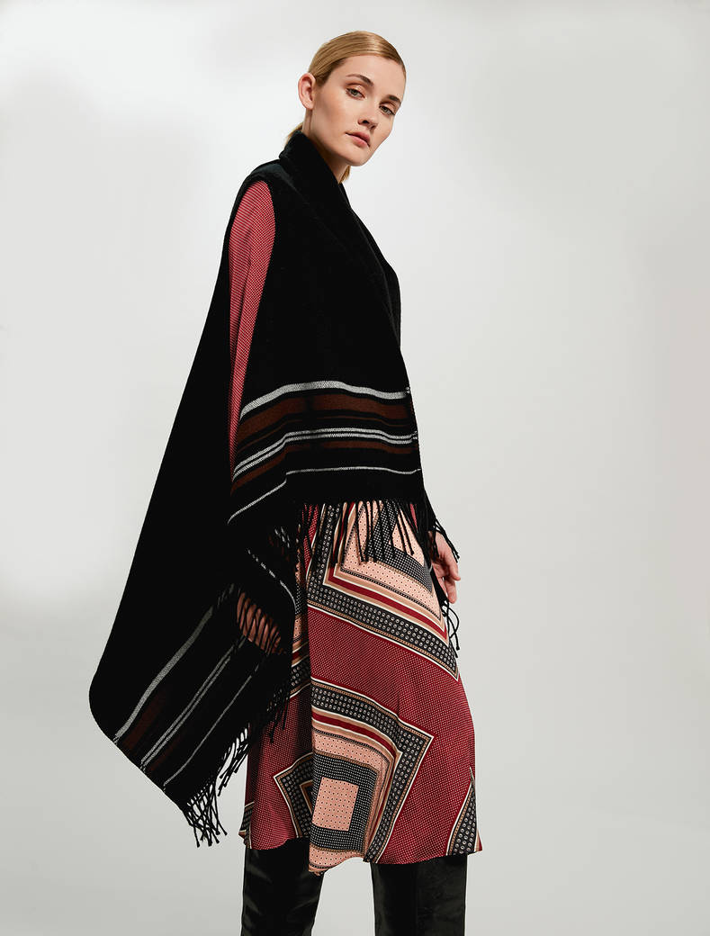Fringed poncho with stripes - black - pennyblack