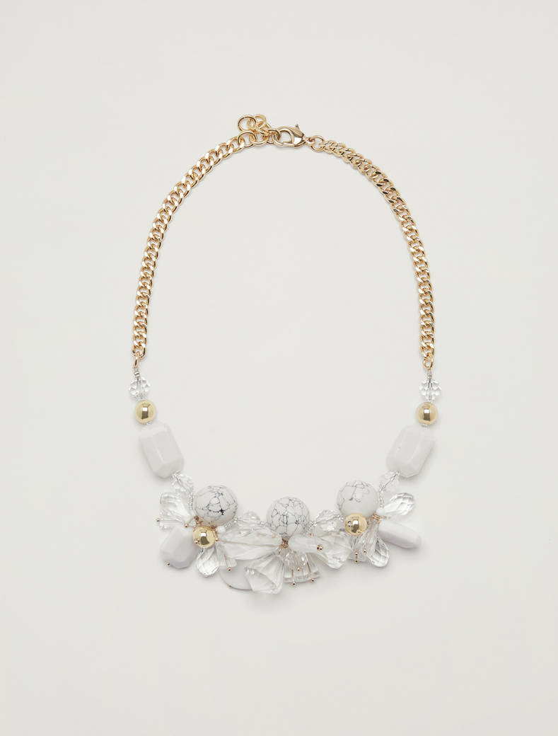 Necklace with clusters and chain - ivory - pennyblack