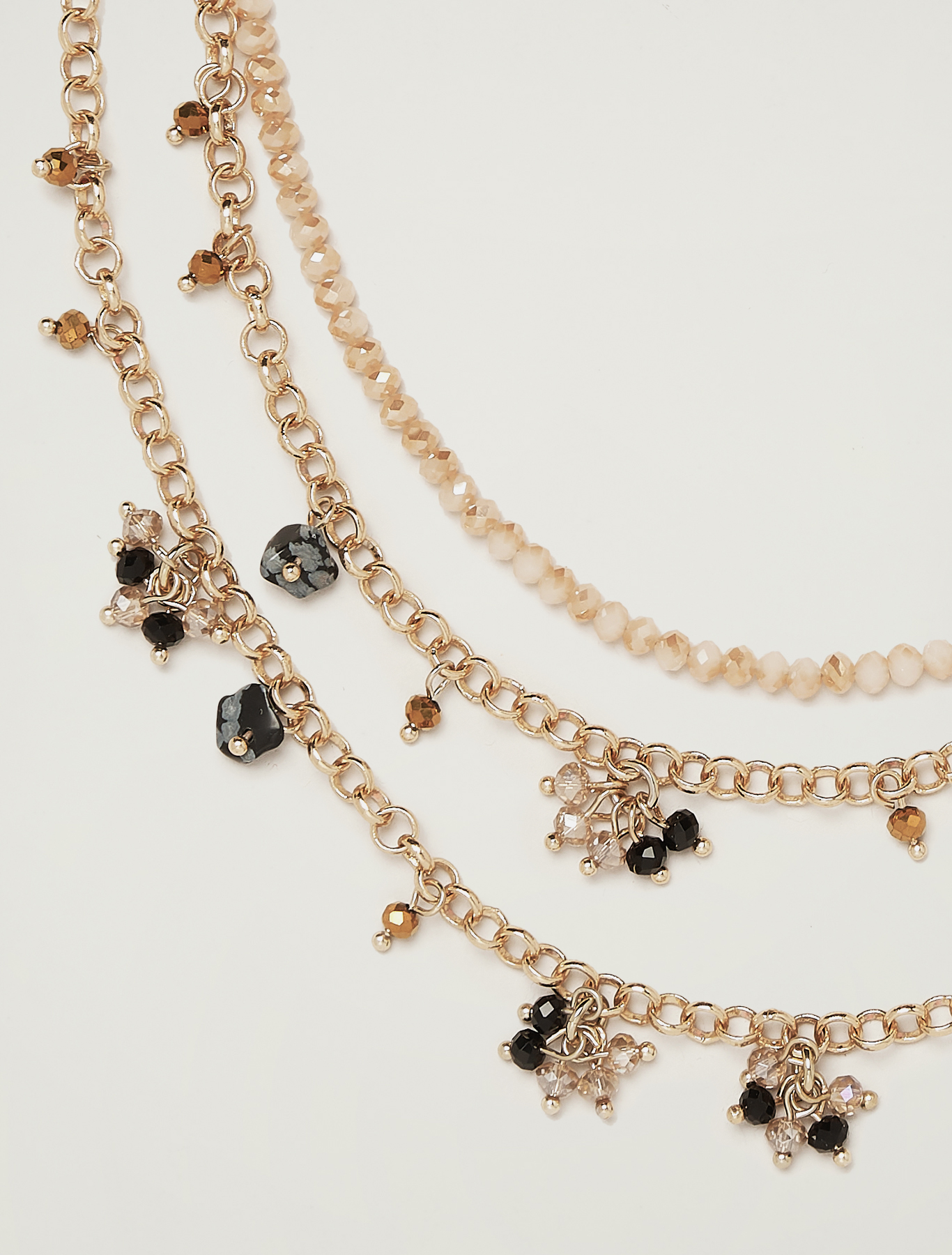Clustered stone necklace - black - pennyblack