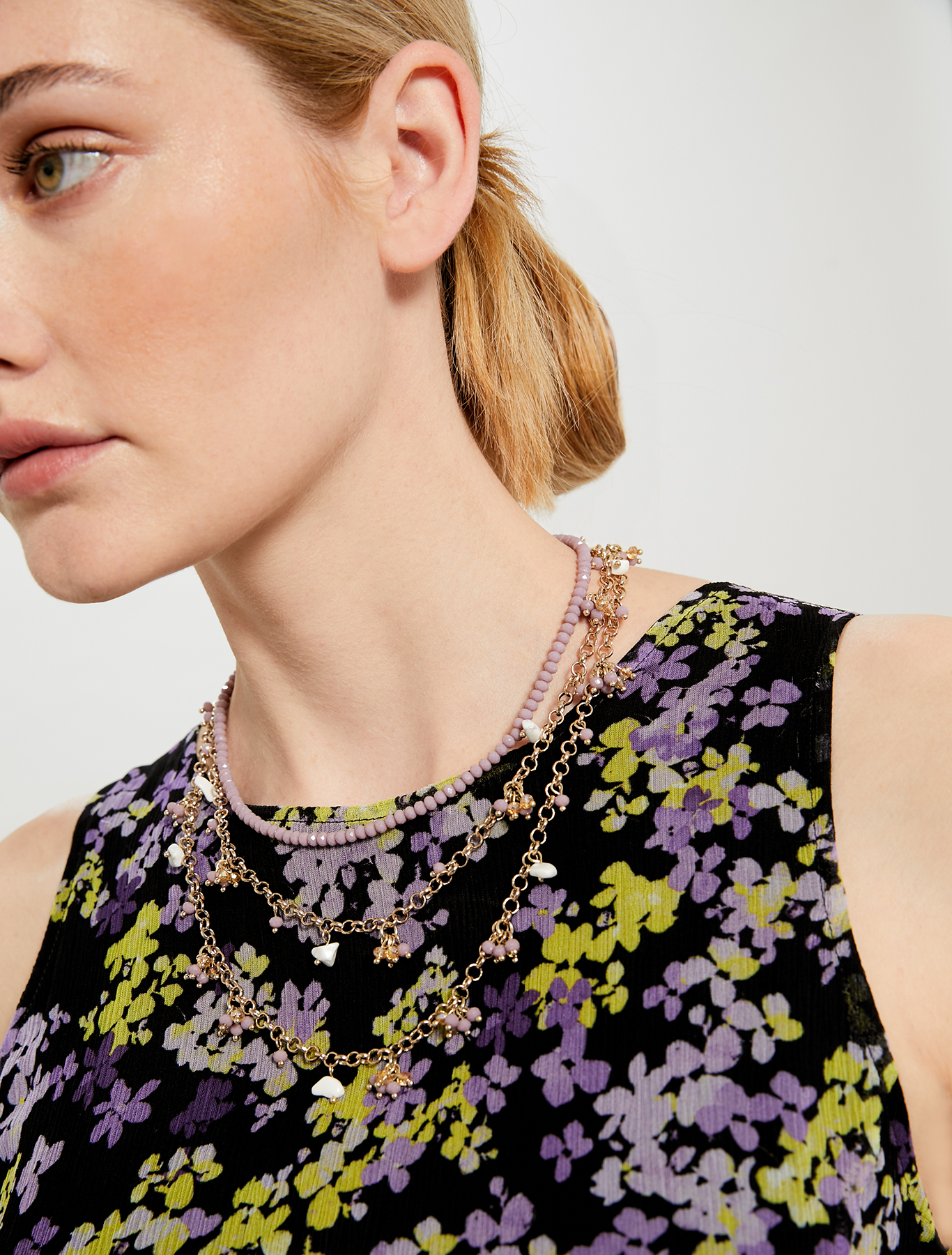 Clustered stone necklace - lilac - pennyblack