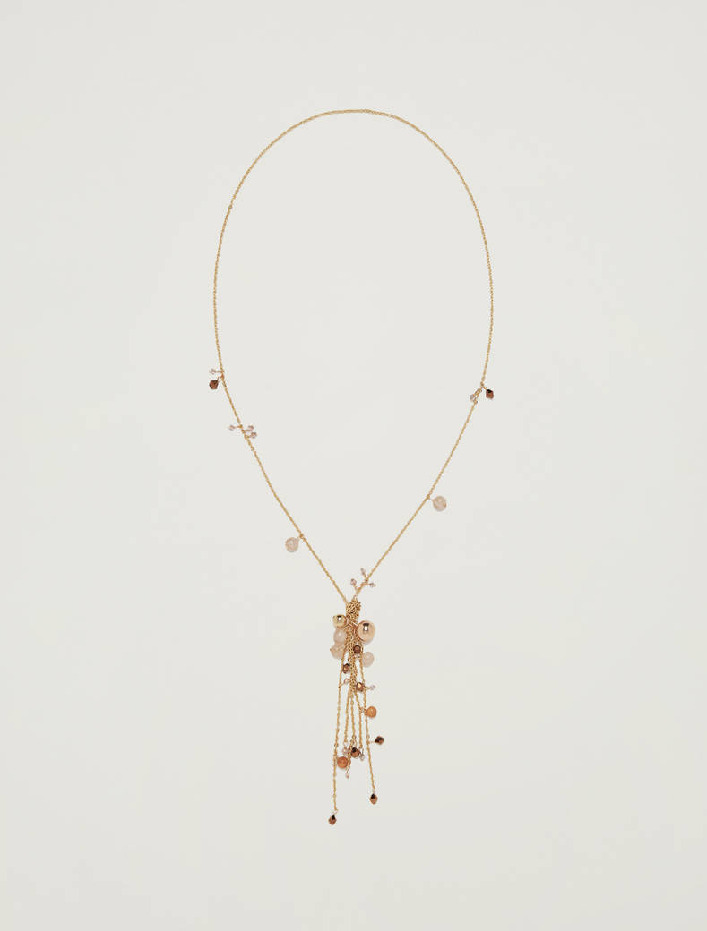 Necklace with clusters and baubles - orange - pennyblack