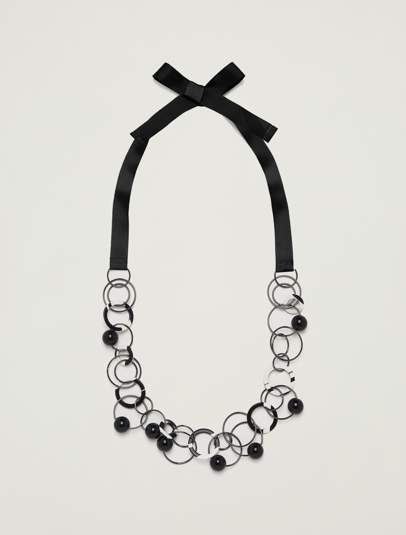 Necklace with rings and baubles - black - pennyblack