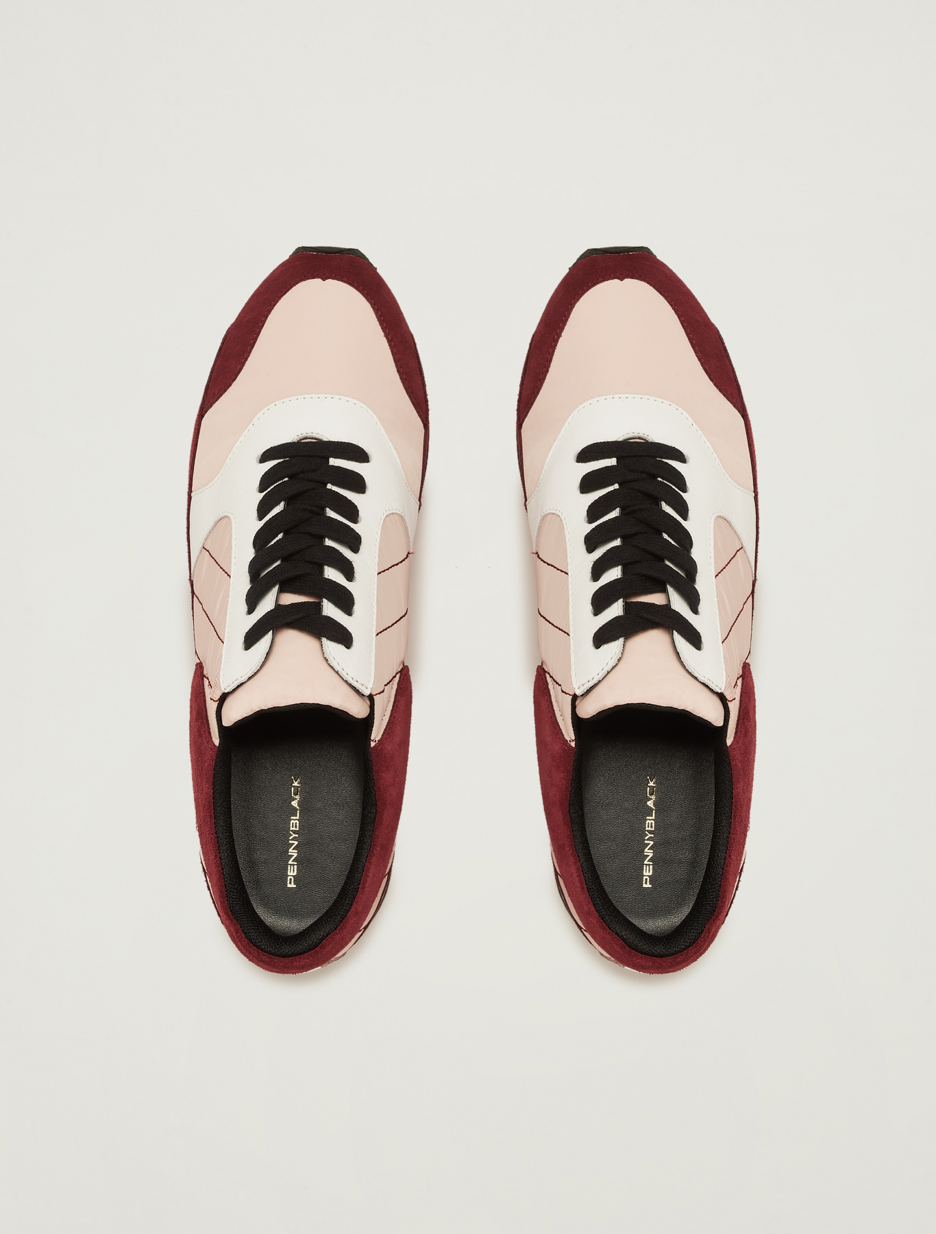 Sneakers in suede, leather and nylon - burgundy - pennyblack