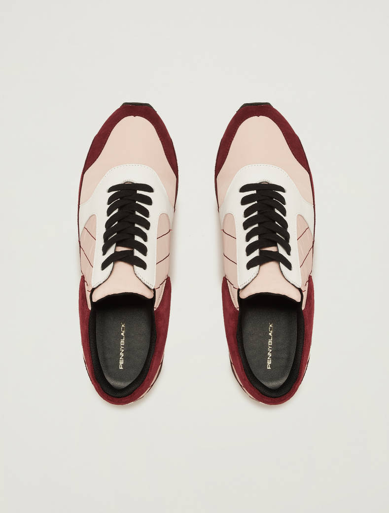 Sneakers in suede, pelle e nylon - bordeaux - pennyblack
