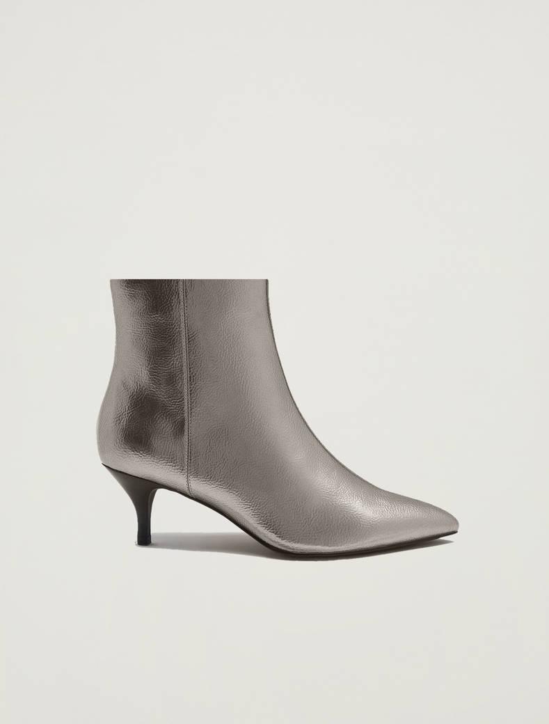 Stivaletti kitten heel laminati - argento - pennyblack