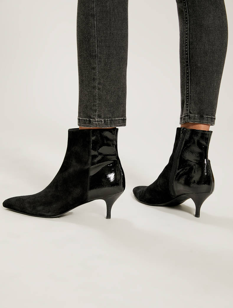 High heels in suede and patent leather - black - pennyblack