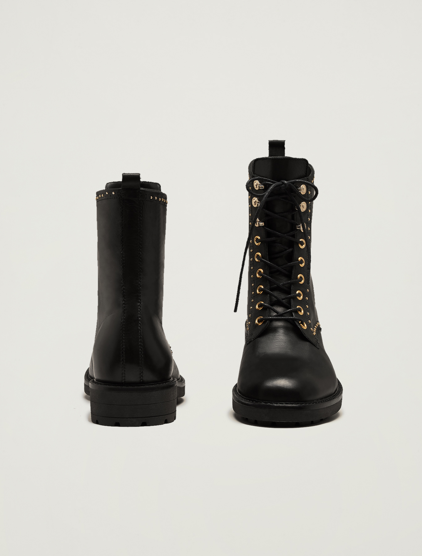 Leather combat boots with micro studs - black - pennyblack