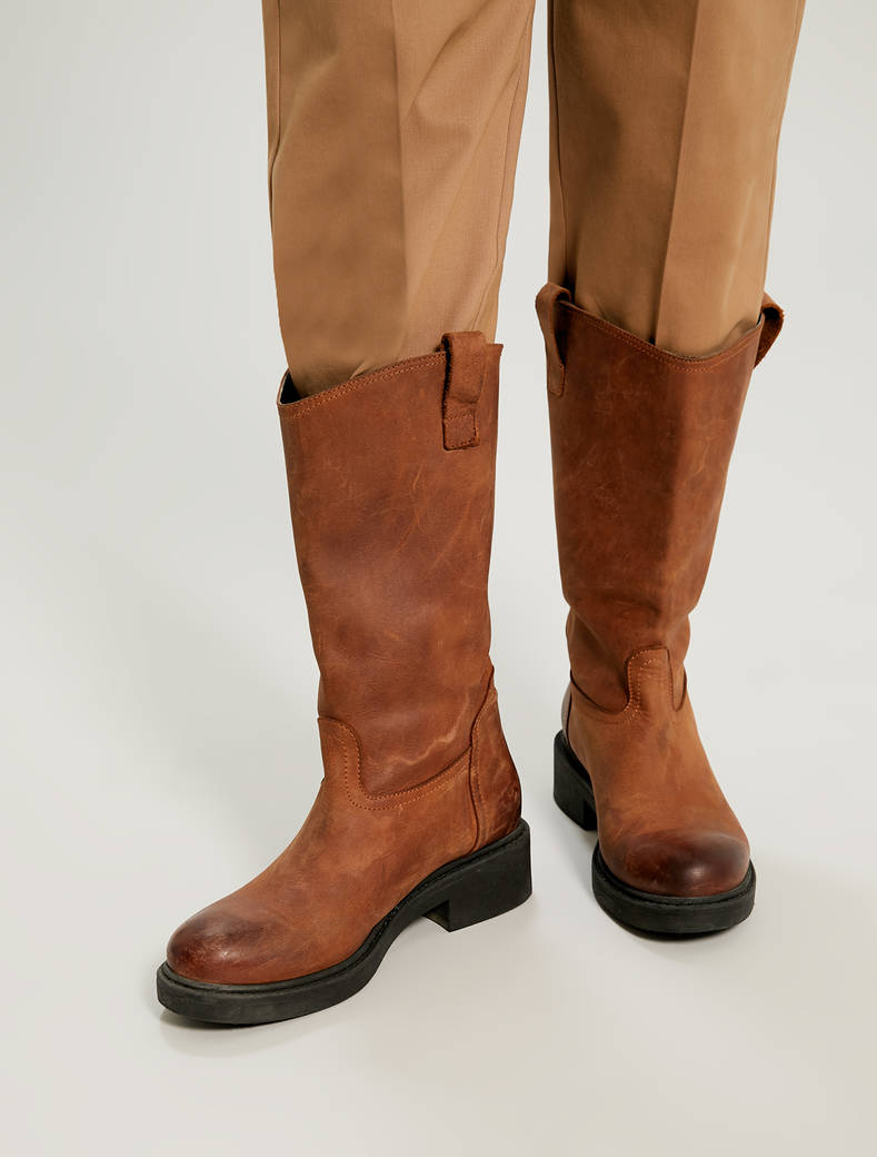Leather biker boots - tan - pennyblack