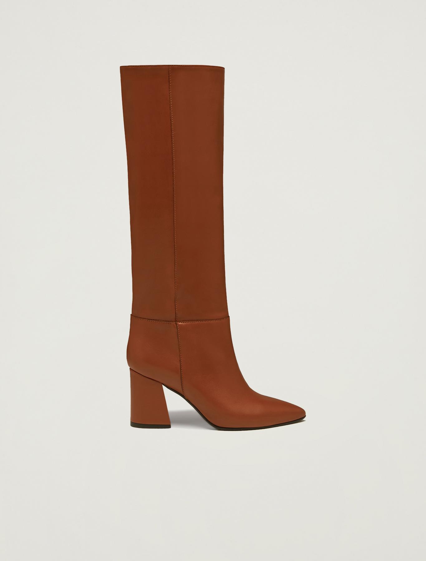 Knee-high boots with midi heel - tan - pennyblack