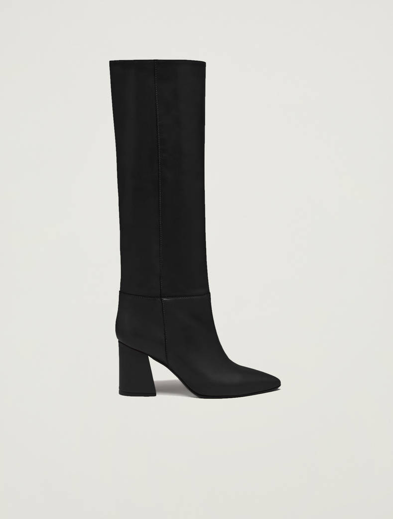 Knee-high boots with midi heel - black - pennyblack