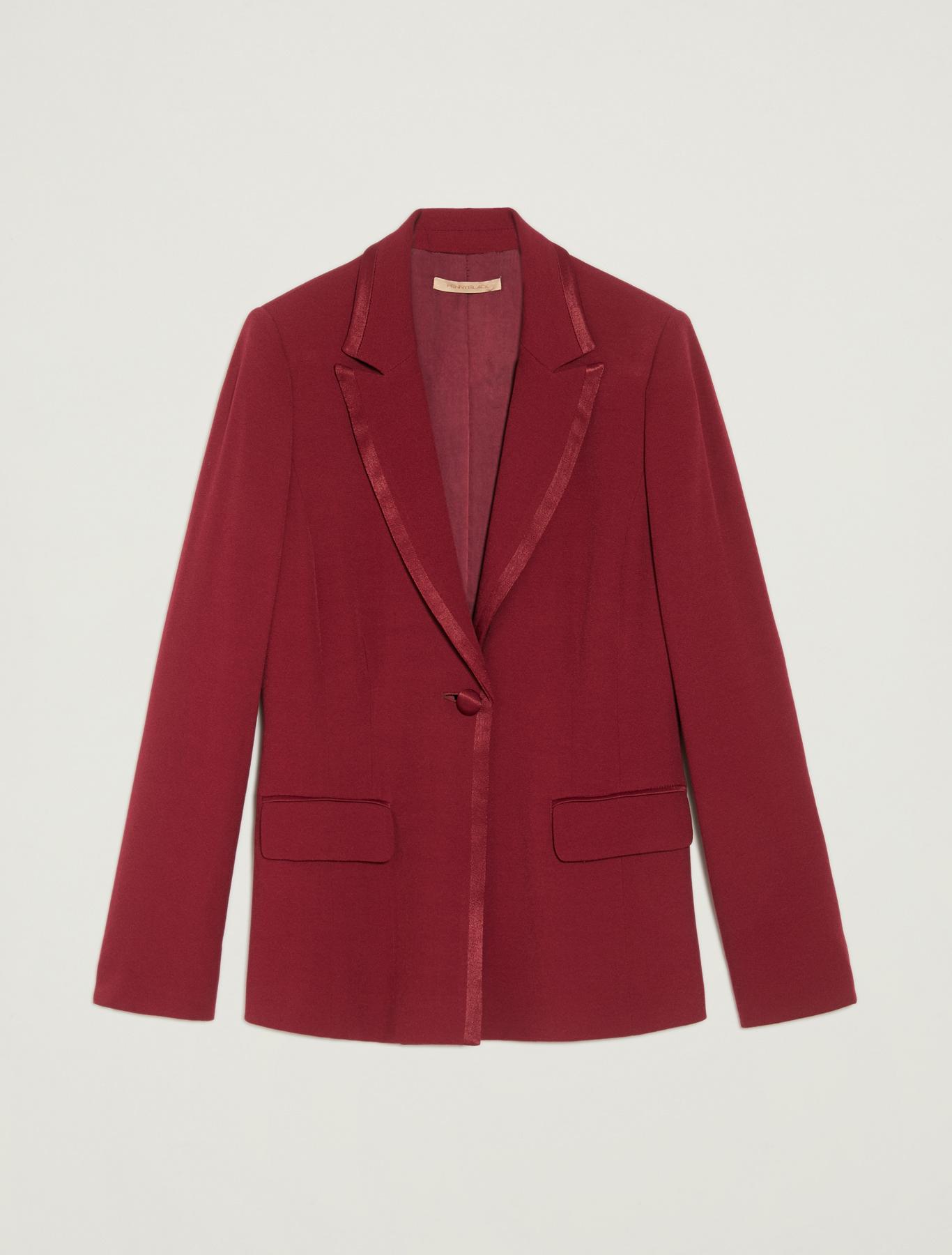 Crêpe tuxedo jacket - burgundy - pennyblack